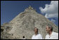 With the Pyramid of the Magician towering in the background, President George W. Bush and President Felipe Calderon of Mexico, tour the Mayan ruins of Uxmal Tuesday, March 13, 2007. White House photo by Eric Draper