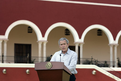 "President George W. Bush delivers a statement during arrival ceremonies Tuesday, March 13, 2007, at Hacienda Temozon in Temozon Sur, Mexico. Said the President, ""The United States and Mexico are partners. We're partners in building a safer, more democratic and more prosperous hemisphere. And a strong relationship between our countries is based upon mutual trust and mutual respect."" White House photo by Paul Morse"