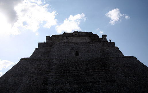The 117-foot-high Pyramid of the Magician looms over Uxmal during a tour Tuesday, March 13, 2007, by President George W. Bush and Mrs. Laura Bush, who visited Mexico on their final leg of a six-day, five country Latin American tour.