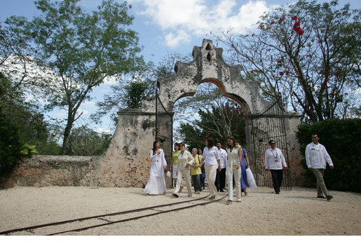 Mrs. Laura Bush and Mrs. Margarita Zavala, wife of President Felipe Calderon walk across the Hacienda Temozon Tuesday, March 13, 2007, during their visit to Temozon Sur. White House photo by Shealah Craighead