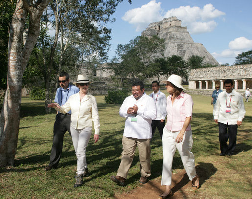 Mrs. Laura Bush and Mrs. Margarita Zavala, wife of President Felipe Calderon of Mexico, tour Mayan ruins in Uxmal, Mexico Tuesday, March 13, 2007. White House photo by Shealah Craighead