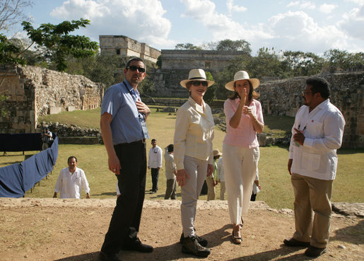 Mrs. Margarita Zavala, wife of Mexico's President Felipe Calderon, offers Mrs. Laura Bush a point of interest Tuesday, March 13, 2007, during their tour of Mayan ruins in Uxmal, Mexico. The visit to Mexico marked the final leg of the visit by the President and Mrs. Bush to Latin America. White House photo by Shealah Craighead