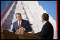 President George W. Bush and Mexico's President Felipe Calderon appear before reporters Wednesday, March 14, 2007 in Merida, Mexico, during a joint news conference. Mexico is the last stop on President Bush's five country visit to Latin America. White House photo by Paul Morse