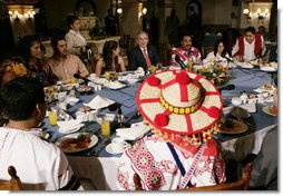President George W. Bush speaks at a breakfast meeting with Training, Internships and Scholarships (TIES) recipients Wednesday, March 14, 2007, in Merida, Mexico. White House photo by Eric Draper