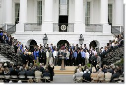 President George W. Bush welcomes the 2006 NCAA football champion University of Florida Gators football team to the White House, Monday, March 19, 2007. White House photo by Joyce Boghosian