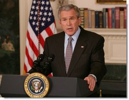 President George W. Bush speaks to members of the media Tuesday, March 20, 2007 in the Diplomatic Reception Room of the White House, addressing the issues surrounding the firing of eight federal prosecutors.  White House photo by Shealah Craighead