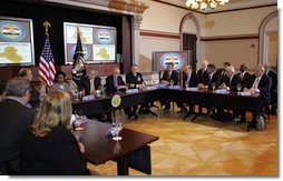 "President George W. Bush takes part in a roundtable with Iraq provincial reconstruction team leaders in the Dwight D. Eisenhower Executive Office Building Thursday, March 22, 2007. ""We have a remarkable country and we have people from different walks of life, different levels of experience make the decision to serve America by helping a young democracy survive,"" said the President to the press. ""They understand what I understand, and that is success in Iraq is important for the security of the United States."" White House photo by Joyce N. Boghosian"
