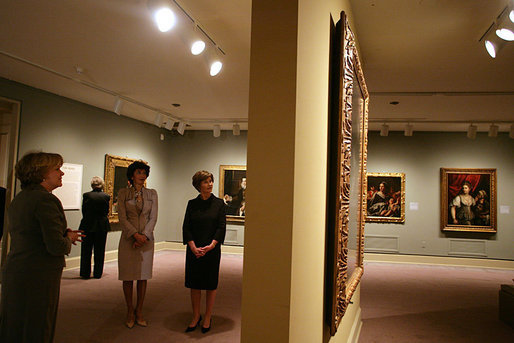 Mrs. Laura Bush and Mrs. Giovanni Castellaneta, wife of the Italian Ambassador to the United States, tour an exhibit of Italian Women Artists from Renaissance to Baroque at the National Museum of Women in the Arts Thursday, March 22, 2007, in Washington, D.C. They are guided by the museum's director Dr. Judy L. Larson, who is pictured at the far left. White House photo by Shealah Craighead