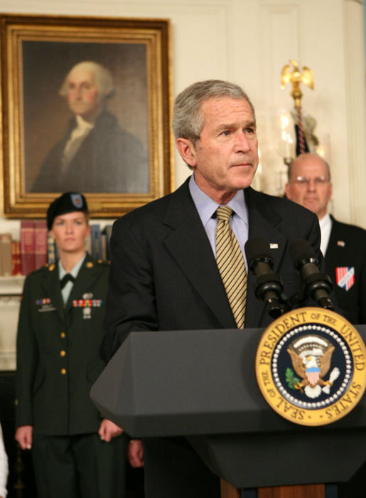"President George W. Bush discusses the Iraq War Emergency Supplemental with the press in the Diplomatic Reception Room Friday, March 23, 2007. ""The purpose of the emergency war spending bill I requested was to provide our troops with vital funding. Instead, Democrats in the House, in an act of political theater, voted to substitute their judgment for that of our military commanders on the ground in Iraq,"" said President Bush. White House photo by Eric Draper"