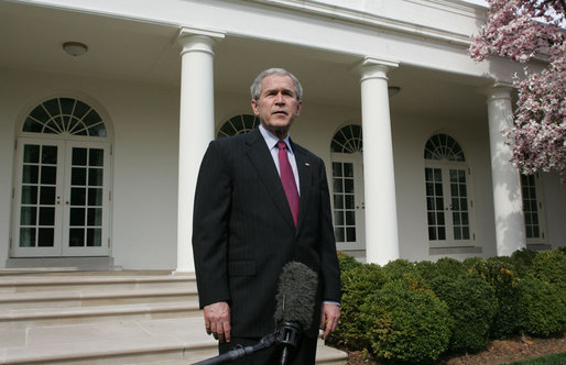 President George W. Bush delivers a statement to the media regarding the health of White House Press Secretary Tony Snow Tuesday, March 27, 2007, in the Rose Garden. White House photo by Joyce Boghosian