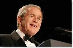 President George W. Bush delivers his remarks Wednesday evening, March 28, 2007, at the Radio and Television Correspondents Association annual dinner in Washington, D.C.  White House photo by Shealah Craighead