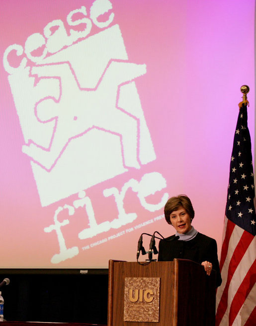 Mrs. Laura Bush addresses the CeaseFire CEO Summit at the University of Illinois at Chicago, Thursday, March 29, 2007. Mrs. Bush praised the CeaseFire Chicago program as an outstanding example of how communities can work together to provide our nation's youth with a safe and positive place to learn and grow. White House photo by Shealah Craighead