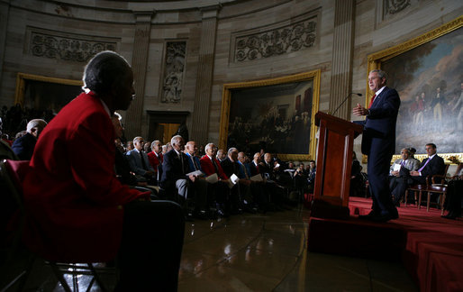 "President George W. Bush speaks during the Congressional Gold Medal ceremony for the Tuskegee Airmen Thursday, March 29, 2007, at the U.S. Capitol. Said the President, ""The Tuskegee Airmen helped win a war, and you helped change our nation for the better. Yours is the story of the human spirit, and it ends like all great stories do – with wisdom and lessons and hope for tomorrow."" White House photo by Eric Draper"