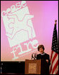 Mrs. Laura Bush addresses her remarks at the CeaseFire CEO Summit at the University of Illinois at Chicago, Thursday, March 29, 2007, where Mrs. Bush praised the CeaseFire Chicago program as an outstanding example of how communities can work together to provide our nation's youth with a safe and positive place to learn and grow. White House photo by Shealah Craighead