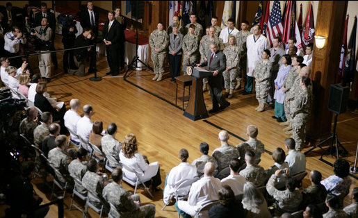 President George W. Bush addresses the medical personnel of Walter Reed Army Medical Center, Friday, March 30, 2007 in Washington, D.C., thanking them for providing extraordinary health care to the people who wear the uniform. President Bush also visited with patients and their family members on his visit to the medical facility. White House photo by Eric Draper