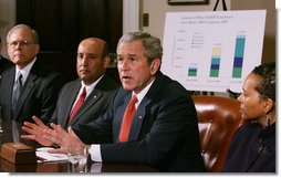 President George W. Bush addresses his remarks to members of the media during a meeting with small business owners, health insurance providers and recently insured individuals on Health Savings Accounts, Monday, April 2, 2007, in the Roosevelt Room at the White House. A report released Monday shows the number of individuals covered by Health Savings Accounts has increased 43 percent over the last year.  White House photo by Joyce Boghosian