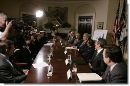 President George W. Bush addresses his remarks to members of the media during a meeting with small business owners, health insurance providers and recently insured individuals on Health Savings Accounts, Monday, April 2, 2007, in the Roosevelt Room at the White House. A report released Monday shows the number of individuals covered by Health Savings Accounts has increased 43 percent over the last year.  White House photo by Joyce N. Boghosian