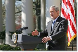 "President George W. Bush discusses the emergency supplemental bill with the press Tuesday, April 3, 2007, in the Rose Garden. ""Democrat leaders in Congress seem more interested in fighting political battles in Washington than in providing our troops what they need to fight the battles in Iraq,"" said the President. ""If Democrat leaders in Congress are bent on making a political statement, then they need to send me this unacceptable bill as quickly as possible when they come back. I'll veto it, and then Congress can get down to the business of funding our troops without strings and without delay.""  White House photo by Eric Draper"