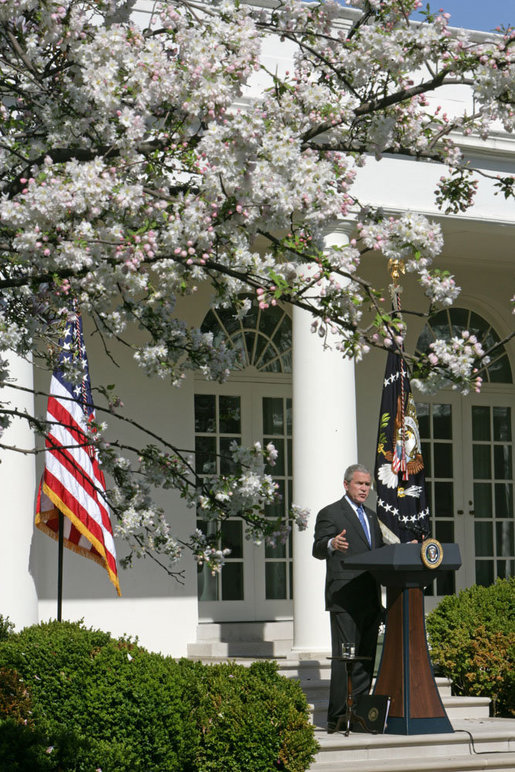 "President George W. Bush addresses the press Tuesday, April 3, 2007, in the Rose Garden. ""The reinforcements we've sent to Baghdad are having a impact. They're making a difference,"" said the President. ""And as more of those reinforcements arrive in the months ahead, their impact will continue to grow. But to succeed in their mission, our troops need Congress to provide the resources, funds, and equipment they need to fight our enemies."" White House photo by David Bohrer"