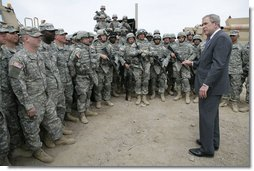 President George W. Bush visits U.S. Army soldiers following a training demonstration at Fort Irwin, Calif., Wednesday, April 4, 2007. White House photo by Eric Draper