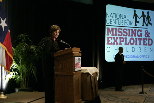 Mrs. Laura Bush delivers remarks Wednesday, April 4, 2007, in Austin, during the announcement of the future opening of the Texas Regional Office of the National Center for Missing and Exploited Children. The center will serve as a regional hub to manage cases throughout the Southwest. White House photo by Shealah Craighead