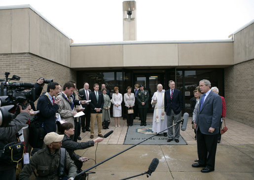 President George W. Bush delivers remarks to news reporters after attending an Easter church service at Fort Hood, Texas, Sunday, April 8, 2007. White House photo by Eric Draper