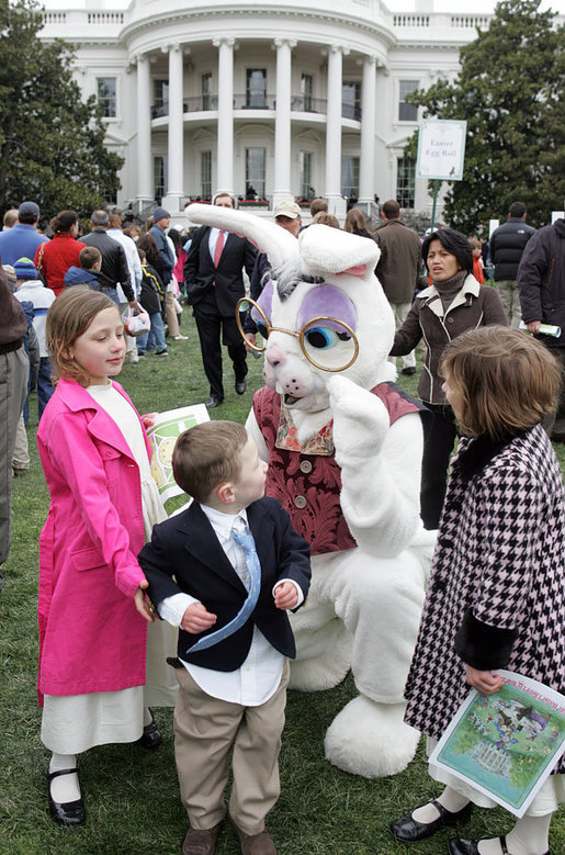 Children gather around a special long-eared White House guest during the during the 2007 White House Easter Egg Roll Monday, April 9, 2007. White House photo by Joyce Boghosian