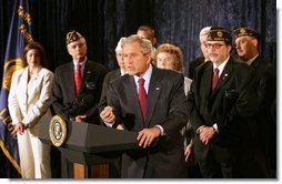 "President George W. Bush emphasizes a point as he speaks on the Iraq War Supplemental during a visit to the American Legion Post 177 Tuesday, April 10, 2007, in Fairfax, Va. Said the President, ""The bottom line is this: Congress's failure to fund our troops will mean that some of our military families could wait longer for their loved ones to return from the front lines. Others could see their loved ones headed back to war sooner than anticipated. This is unacceptable.""  White House photo by Joyce N. Boghosian"