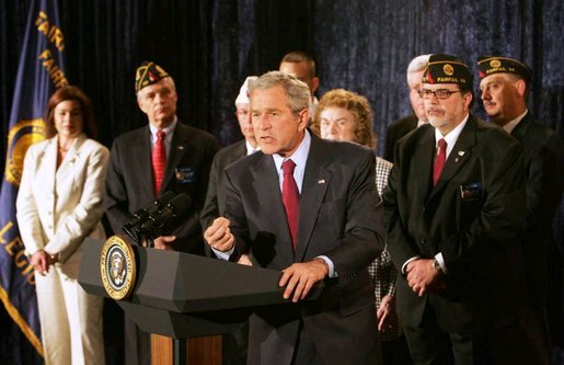"President George W. Bush emphasizes a point as he speaks on the Iraq War Supplemental during a visit to the American Legion Post 177 Tuesday, April 10, 2007, in Fairfax, Va. Said the President, ""The bottom line is this: Congress's failure to fund our troops will mean that some of our military families could wait longer for their loved ones to return from the front lines. Others could see their loved ones headed back to war sooner than anticipated. This is unacceptable."" White House photo by Joyce Boghosian"