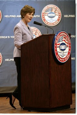 "Mrs. Laura Bush delivers her remarks Thursday, April 12, 2007 at the third regional conference on Helping America's Youth at Tennessee State University in Nashville, Tenn. Mrs. Bush said, ""Adults need to become aware of the challenges facing children, and take an active interest in their lives.""  White House photo by Shealah Craighead"
