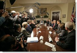 "President George W. Bush meets with parochial educational leaders and parents Friday, April 13, 2007, in the Roosevelt Room. ""We had the privilege of talking to parents whose lives have been positively affected by our Catholic school system. One of the great assets in the United States is the Catholic schools, which oftentimes educate the so-called hard to educate -- and they do so in such a spectacular way,"" said President Bush. White House photo by Shealah Craighead"