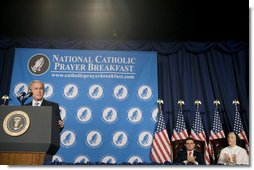 "President George W. Bush addresses the National Catholic Prayer Breakfast Friday, April 13, 2007, in Washington, D.C. ""Our Declaration of Independence states that our freedom rests on self-evident truths about the dignity of the human person. Throughout our nation's history, Catholic Americans have embraced, sustained, and given their lives to defend these truths,"" said President Bush. ""This morning, we give thanks for the blessings of freedom, and we ask Almighty God to guide us as we renew our founding promise of liberty and justice for all."" White House photo by Shealah Craighead"