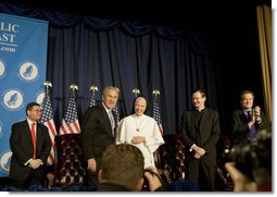 "President George W. Bush talks with Mother Assumpta Long after addressing the National Catholic Prayer Breakfast Friday, April 13, 2007, in Washington, D.C. ""One of the reasons that I am such a strong believer in the power of our faith-based institutions is that they add something the government never can, and that is love,"" said the President in his remarks. White House photo by Shealah Craighead"