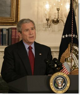 "President George W. Bush delivers a statement Monday, April 16, 2007, regarding the shooting deaths of more than 30 Virginia Tech students. ""Today, our nation grieves with those who have lost loved ones at Virginia Tech,"" said the President. ""We hold the victims in our hearts, we lift them up in our prayers, and we ask a loving God to comfort those who are suffering today.""  White House photo by Eric Draper"