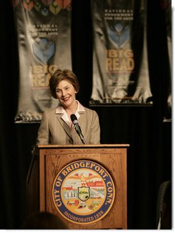 Mrs. Laura Bush addresses her remarks at The Big Read event Monday, April 16, 2007 at the Barnum Museum in Bridgeport, Conn. The Big Read is a nationwide initiative of the National Endowment of the Arts. White House photo by Shealah Craighead