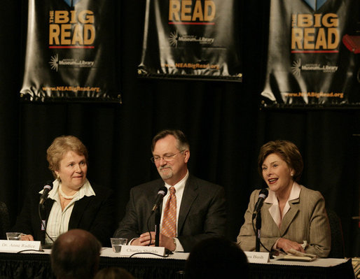 Mrs. Laura Bush participates in a panel discussion on the book 'To Kill A Mockingbird' at The Big Read event Monday, April 16, 2007 at the Barnum Museum in Bridgeport, Conn., with Dr. Anne-Imelda Radice, Director, Institute of Museum and Library Services at the Barnum Museum, left, and author Charles Shields, biographer of Harper Lee, the author of 'To Kill A Mockingbird.' White House photo by Shealah Craighead