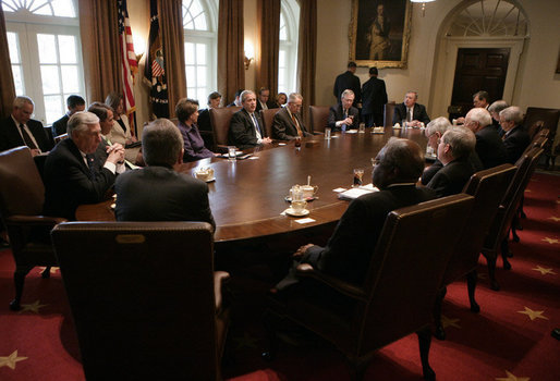 President George W. Bush addresses a meeting with bicameral and bipartisan legislative leaders, including House Speaker Nancy Pelosi and Senate Majority Leader Harry Reid, in the Cabinet Room at the White House, Wednesday, April 18, 2007. White House photo by Eric Draper