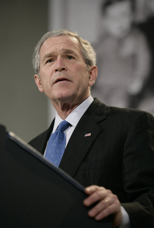 "President George W. Bush delivers remarks at the United States Holocaust Memorial Museum Wednesday, April 18, 2007. Speaking on the issue of Darfur, the President told his audience, ""Thanks to the efforts of people in this room, the world knows and the world sees. Now the world must act."" White House photo by Eric Draper"