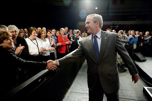 President George W. Bush greets audience members after delivering remarks at Tipp City High School Thursday, April 19, 2007, in Tipp City, Ohio. White House photo by Eric Draper