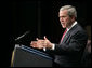 President George W. Bush delivers remarks on the Global War on Terror Friday, April 20, 2007 at East Grand Rapids High School in East Grand Rapids, Mich. White House photo by Eric Draper