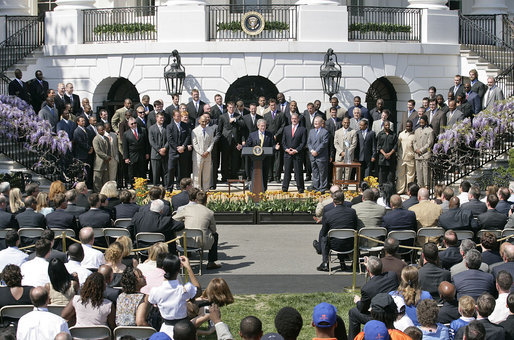 President George W. Bush delivers remarks during a ceremony honoring the 2007 NFL Super Bowl Champions, the Indianapolis Colts, Monday, April 23, 2007, on the South Lawn. White House photo by Shealah Craighead