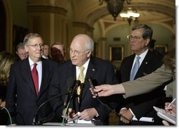 Vice President Dick Cheney comments on the war in Iraq Tuesday, April 24, 2007 at the U.S. Capitol. Standing with the Vice President is Senate Minority Leader Mitch McConnell, R-KY, left, and Senator Trent Lott, R-MS. White House photo by Joyce Boghosian