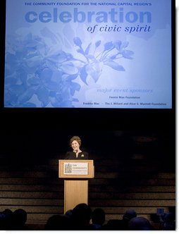 "Mrs. Laura Bush addresses the Community Foundation for the National Capital Region's ""A Celebration of Civic Spirit"" gala Tuesday, April 24, 2007, at the Ronald Reagan Building and International Trade Center in Washington, D.C. ""Guided by the Community Foundation, Washington residents give back to their cities through more than 600 charitable funds,"" said Mrs. Bush. White House photo by Shealah Craighead"