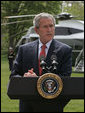 "President George W. Bush talks about the legislation introduced by the Democrats yesterday from the South Lawn Tuesday, April 24, 2007. ""I know that Americans have serious concerns about this war. People want our troops to come home, and so do I,"" said the President. ""But no matter how frustrating the fight can be and no matter how much we wish the war was over, the security of our country depends directly on the outcome in Iraq. The price of giving up there would be paid in American lives for years to come. It would be an unforgivable mistake for leaders in Washington to allow politics and impatience to stand in the way of protecting the American people."" White House photo by Joyce Boghosian"