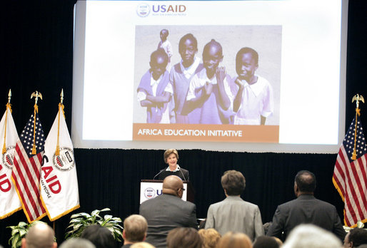 "Mrs. Laura Bush delivers remarks at the launch of the President's Africa Education Initiative video at the Academy for Educational Development Tuesday, April 24, 2007, in Washington, D.C. ""Yesterday began UNESCO's Education for All Week -- a time when the world renews its commitment to education. Governments are reminded of their responsibility to invest in the education of its citizens. Leaders are urged to work with their counterparts in other countries to educate global citizens,"" said Mrs. Bush. ""And all of us are called to help meet UNESCO's goal of giving every child access to a good education by the year 2015."" White House photo by Shealah Craighead"