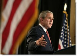 "President George W. Bush addresses his remarks at Harlem Village Academy Charter School in New York, during his visit to the school Tuesday, April 24, 2007, speaking on his ""No Child Left Behind"" reauthorization proposals.  White House photo by Eric Draper"