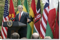 "President George W. Bush delivers remarks during a ceremony marking Malaria Awareness Day Wednesday, April 25, 2007, in the Rose Garden. ""Today, citizens around the world are making a historic commitment to end malaria. In European capitals, parliaments are debating how their governments can help. In Ontario, Canadians are commemorating their first World Malaria Day by raising money for bed nets for Uganda,"" said President Bush. ""Across the continent of Africa, people are teaching their families, friends, and neighbors how to protect themselves from this deadly disease.""  White House photo by Eric Draper"