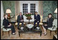 President George W. Bush and Mrs. Laura Bush meet with Japanese Prime Minister Shinzo Abe and his wife Mrs. Akie Abe Thursday, April 26, 2007, at the Blair House on Pennsylvania Avenue. Afterwards, the two couples walked to the White House for a social dinner. White House photo by Eric Draper