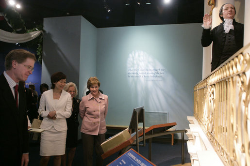 Mrs. Laura Bush and Mrs. Akie Abe, wife of Japanese Prime Minister Shinzo Abe, view an exhibit on the life of George Washington during their tour of the Mount Vernon Estate of Washington Thursday, April 26, 2007, in Mount Vernon, Va. White House photo by Shealah Craighead