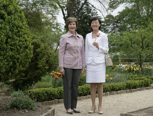 Mrs. Laura Bush and Mrs. Akie Abe, wife of Japanese Prime Minister Shinzo Abe, tour the gardens at the Mount Vernon Estate of George Washington Thursday, April 26, 2007, in Mount Vernon, Va. White House photo by Shealah Craighead